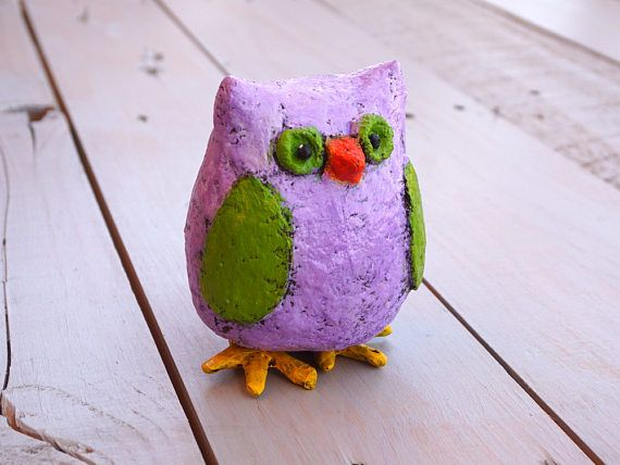 Cute Owl Decor Nursery Decor Paper Mache Owl Owl Figurine