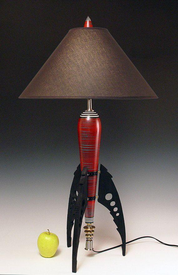 Table Lamp. Atomic retro rocket lamp. Metallic red. 50s. Steam punk. Art Deco. Space age. Sky Captain. 144