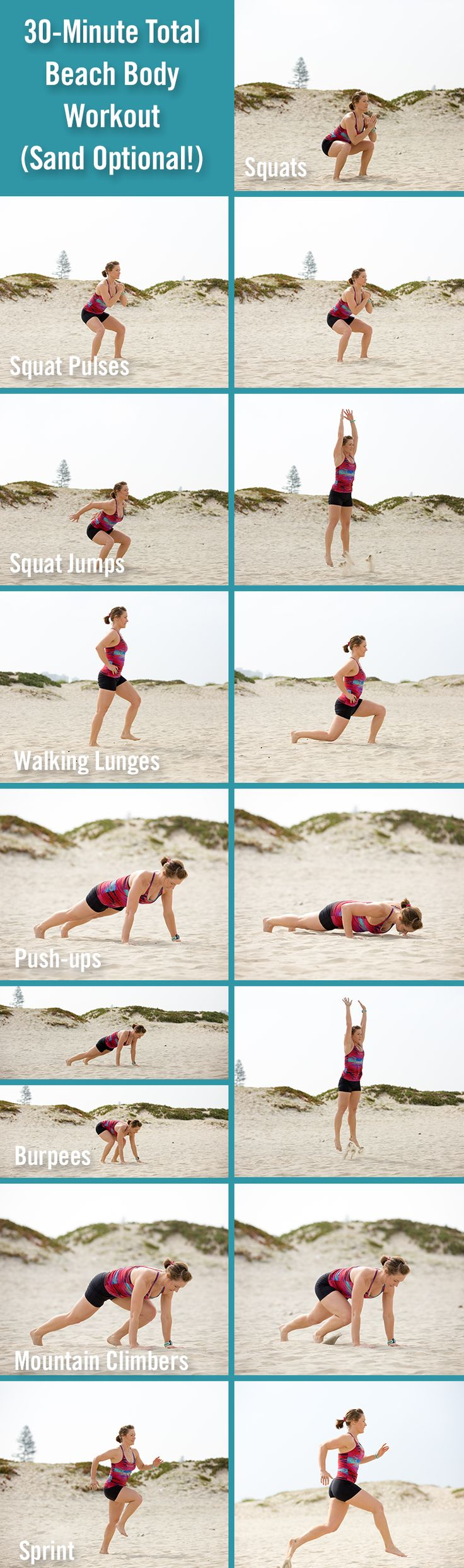 Whether you do it at the beach, the gym or at home, this 30-minute total-body, high-intensity interval workout is effective, efficient and invigorating.