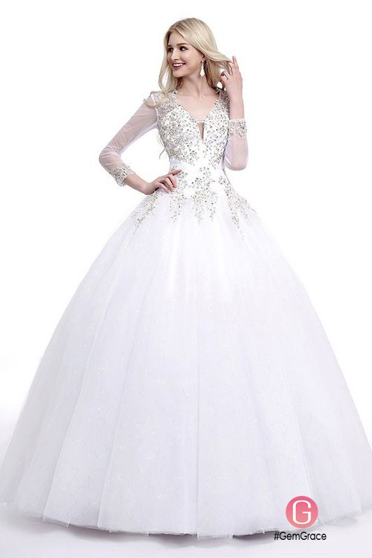 Ball Gown V Neck Sweep Train Tulle Wedding Dress With Beading