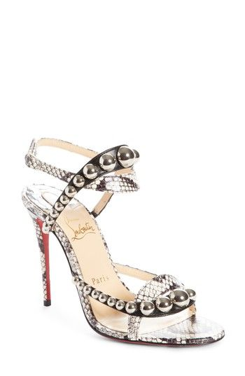 4cf444f0c46a CHRISTIAN LOUBOUTIN GALERIA ORNAMENT GENUINE SNAKESKIN SANDAL.   christianlouboutin  shoes