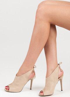 742ce43ecc Dámske béžové semišové sandále s viazaním