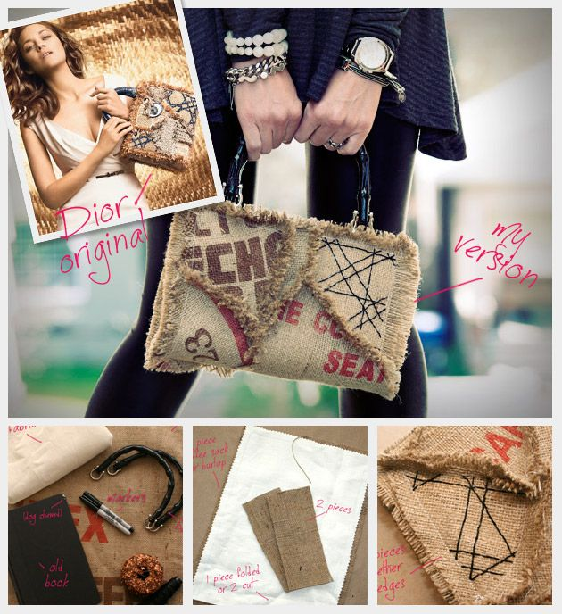 Instructions for: DIY your own DIOR Hack, coffee (or any other feedsack) Purse!  And?  To save even more $$ the Goodwill has purses with some great handles that could probably be used, for practically nothing! This one's a keeper in my 'book' (pun intended) ~p~