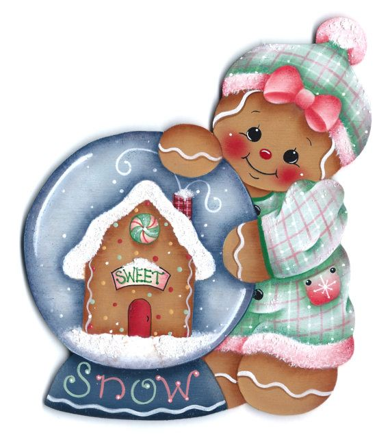 Gingers Snowglobe Gingerbread Painting E-Pattern