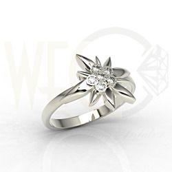 Pierścionek Szarotka Alpejska z białego złota z cyrkoniami Swarovski  / Ring made from white gold with Swarovski's zircons / 684 PLN / #jewellery #gold #whitegold #zircons #Swarovski #ring