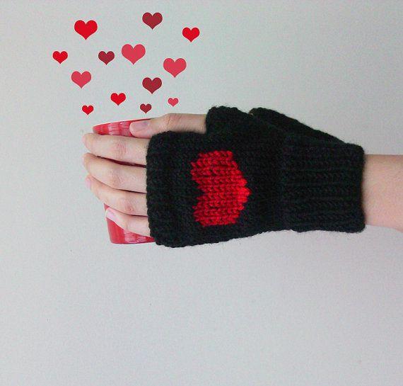 Knit Fingerless Gloves in Black Dark Red Embroidered Heart