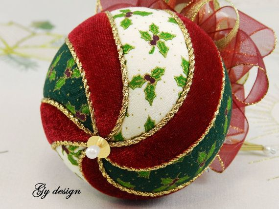 This ornament is made with cotton fabrics and red wine velvet use techniques kimekomi. This ornament is of my own unique design and is carefully handmade