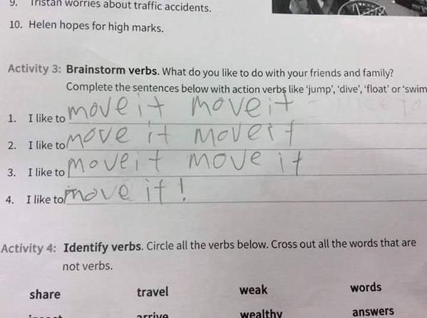 Answer on an English Exam paper - Imgur
