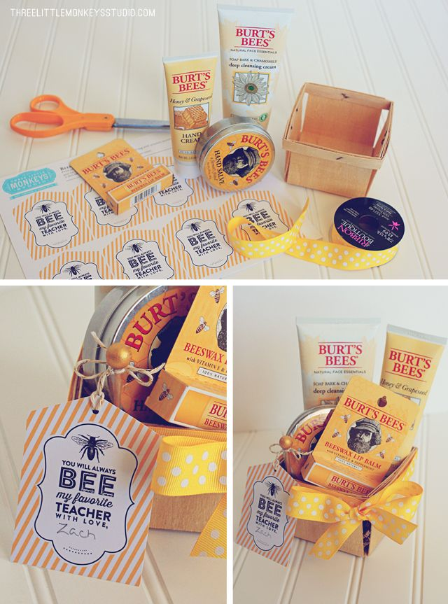 """""""You will always bee my favorite teacher""""... Burt Bee's honey products form the basis of the theme. I placed them in a wood berry basket, wrapped them with ribbon"""