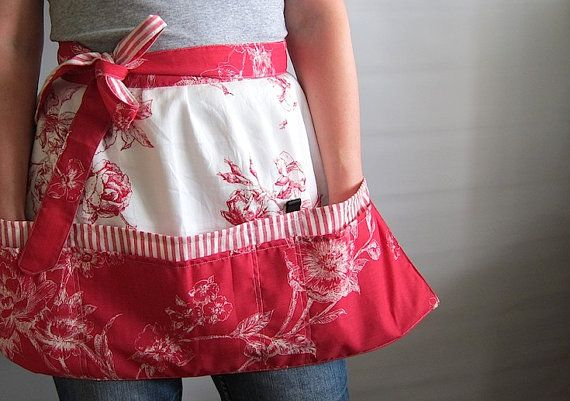 Cafe Apron Hip Apron Half Apron with pockets by SableEtMer