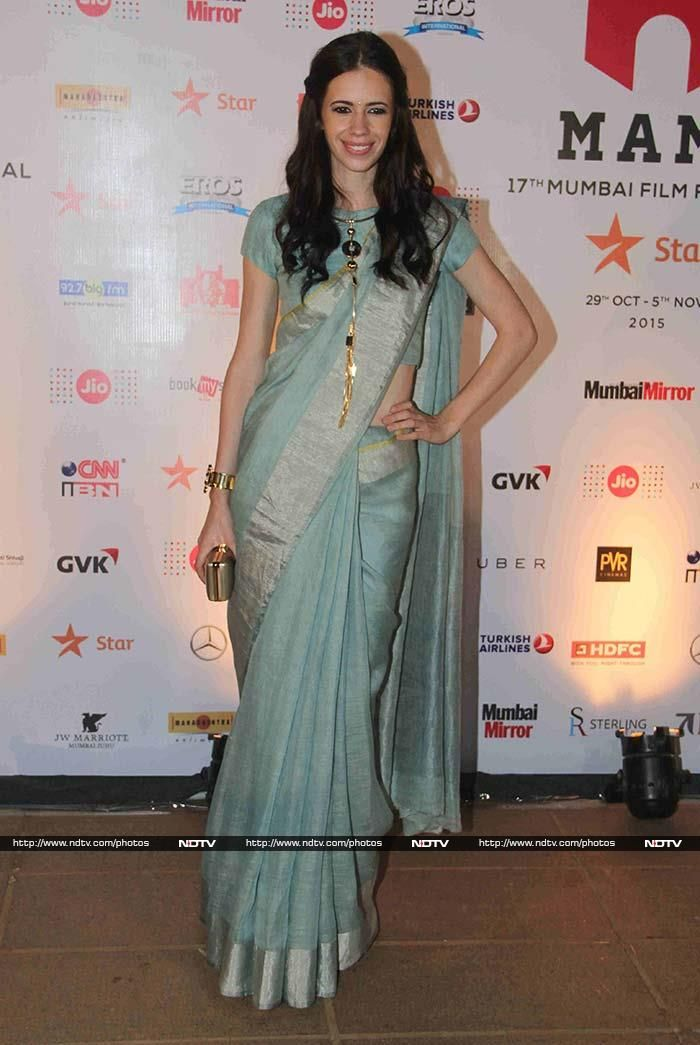 Bollywood actress Kalki Koechlin made heads turn in an Anavila sari of the palest blue and a statement necklace.