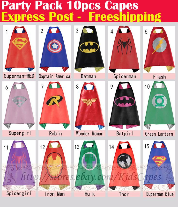 Party Pack - 10pcs superhero capes for kids Birthday party supplies (Only Capes) in Clothing, Shoes & Accessories, Costumes, Reenactment, Theater, Accessories | eBay