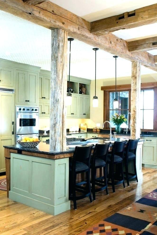 Kitchen Island Corner Posts Columns Support Post Pictures Modern With Pillars Between Farmhouse Kitchen Design Rustic Farmhouse Kitchen Rustic Kitchen Design