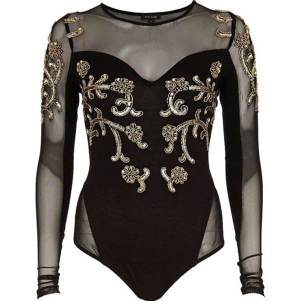 River Island Black embellished mesh panel body ($31) ❤ liked on Polyvore featuring tops, bodysuits, shirts, one piece, body, sale, sequin shirt, body suit, black body suit and black top