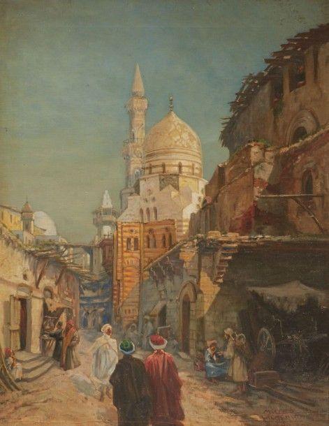 Muller WACHSMUTH (XIXe-XXe SIÈCLE) UNE RUE AU CAIRE EN 1923 A STREET IN CAIRO 1923 Huile sur toile, signée «MULLER WACHSMUTH» en bas à droite (19) 23. 69 x 54 cm - Millon & Associés - 30/11/2015