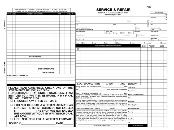 Free Auto Repair Invoice Template Excel In the event that