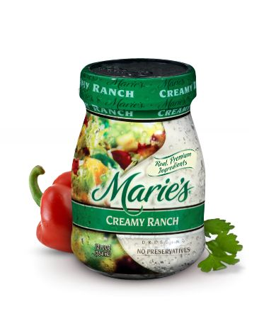 """Marie's Creamy Ranch. No corn syrup. The """"Light"""" contains corn syrup. We use this to dip baby carrots in. Can use at parties. Low sal."""