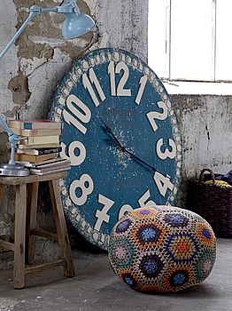 Oversized Antique Blue Clock by Rose & Grey