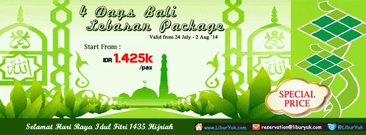 Ingin menikmati suasana #lebaran yang berbeda? Yuk liburan Lebaran Idul Fitri ke Bali aja. Kini ada paket 4 Hari #Bali – Lebaran #Package dengan harga super murah lho.  Dapatkan Spesial Paket tersebut dari #LiburYuk http://liburyuk.com/listpackage/4+Days+Bali+-+Lebaran+Package+ #jalan2 #holiday #AbbeyTravel