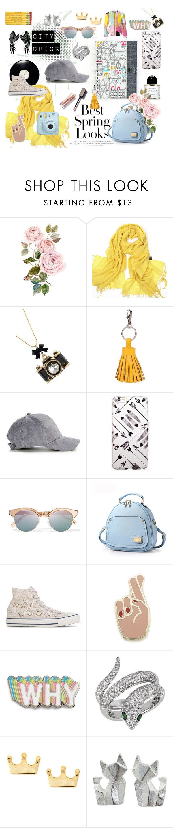 """""""City Chick"""" by iwona-estera on Polyvore featuring H&M, Betsey Johnson, ILI, Le Specs, Converse, Georgia Perry, Big Bud Press, Effy Jewelry, Mminimal and NOVICA"""
