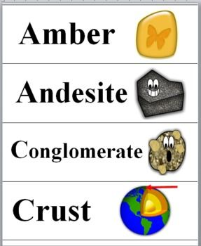 Rocks and Minerals - Science Word Wall Cards