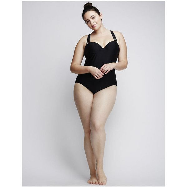 Cacique Plus Size Strappy Swim One Piece with Built-In Bandeau Bra,... ($121) ❤ liked on Polyvore featuring swimwear, one-piece swimsuits, black, plus size, plus size bandeau swimsuit, strapless one piece swimsuits, womens plus size swimsuits, plus size one piece swimsuit and bandeau one piece swimsuit