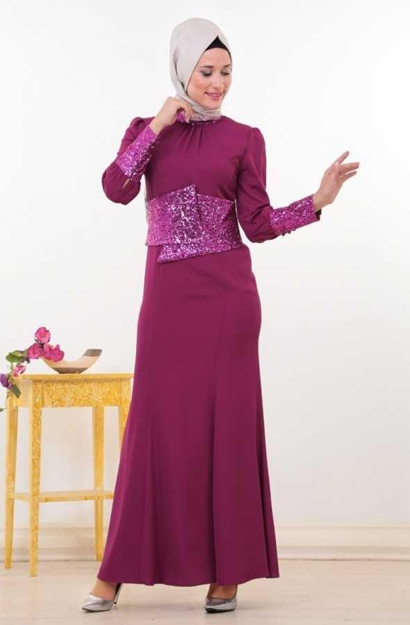 Puane Pul Payetli Abiye Elbise-Fuşya 4357-008-43
