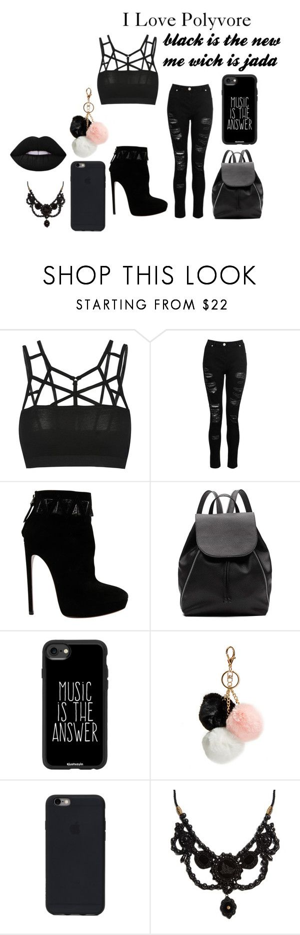 """black"" by ziar-1 ❤ liked on Polyvore featuring beauty, Dorothy Perkins, Alaïa, Witchery, Casetify, GUESS and Gucci"