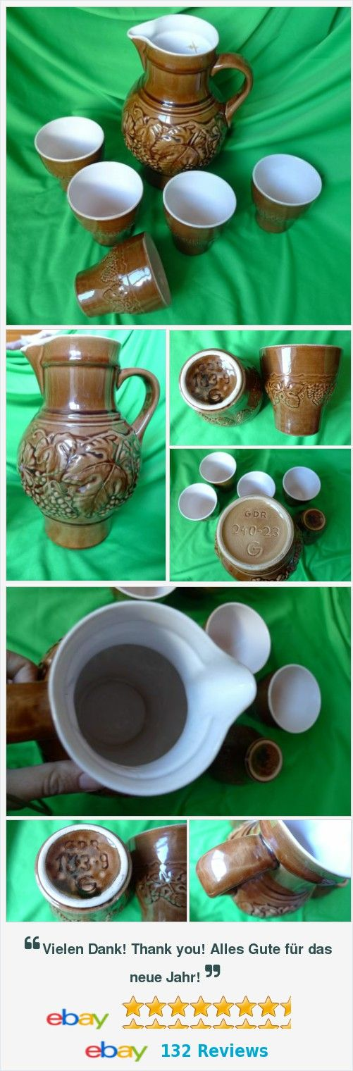 #Vintage #Germany #pottery #GDR brown #PITCHER & 5 #CUP #mug 240-23 G 153-9 #Craquelure #Decor #kitchen #ceramic #porcelain #collectibles #Europe http://www.ebay.com/itm/Vintage-Germany-pottery-GDR-brown-PITCHER-5-CUP-mug-240-23-G-153-9-Craquelure-/182137838391?hash=item2a6842db37:g:Km4AAOSwu4BV7TYk