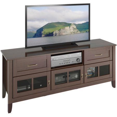 CorLiving TEH-698-B Carlisle Extra Wide Espresso TV Bench for TVs up to 80 inch, Brown