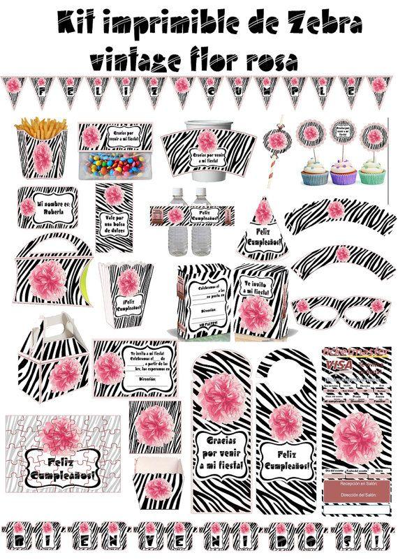 Kit Imprimible animal print Zebra cebra Pink por AhastariDesigns