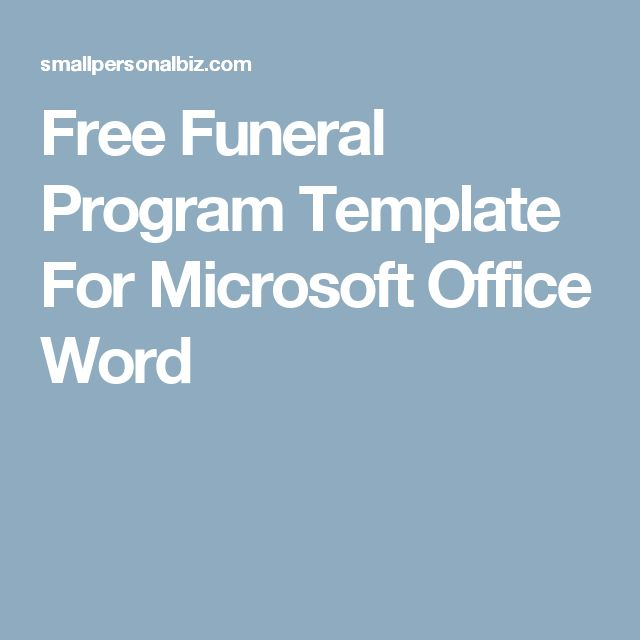 free funeral program template for microsoft office word