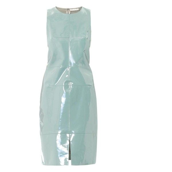 Richard Nicoll Patent leather panel dress ($375) ❤ liked on Polyvore featuring dresses, green, day party dresses, green metallic dress, polish dress, metallic party dress and night out dresses