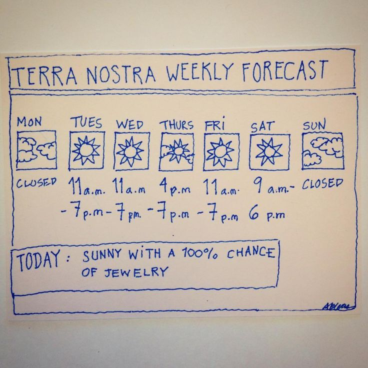 Terra Nostra Weekly #Weather Forecast: #Sunny with a 100% chance of #Jewelry!
