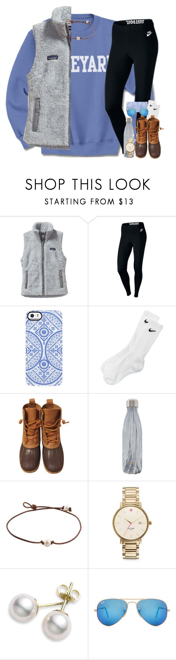 fallll babe by kate-elizabethh ❤ liked on Polyvore featuring Patagonia, NIKE, Uncommon, L.L.Bean, Swell, Kate Spade, Mikimoto and Ray-Ban