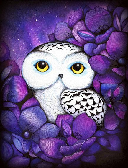 Snowy Owl - NEW Painting Print by Annya Kai - Nature Watercolor Bird Art Night Purple Flowers: Watercolor Paintings, Owl Art, Art Prints, Watercolor Flowers, Flowers Watercolor, His Kai, Modern Nurseries, Snowy Owl, Kids Rooms