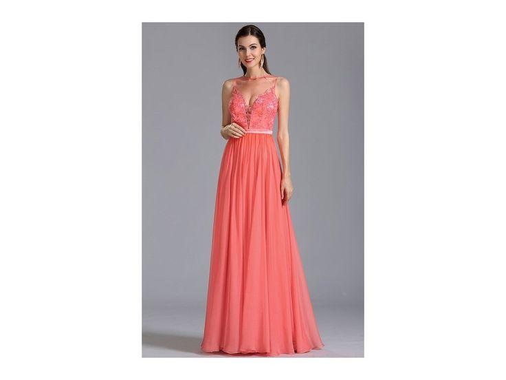 Elegantní plesové šaty korálové střih bez rukávů s hlubokým výstřihem zdobený živůtek má všitou podprsenku zip na zadní straně délka šatů 155 cm (od ramene k přednímu lemu)
