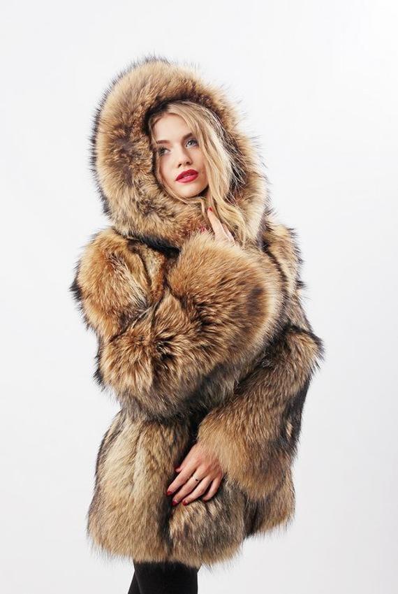 f5745301f85e Womens winter coat - Raccon fur jacket - Hooded coats - Anniversary ...