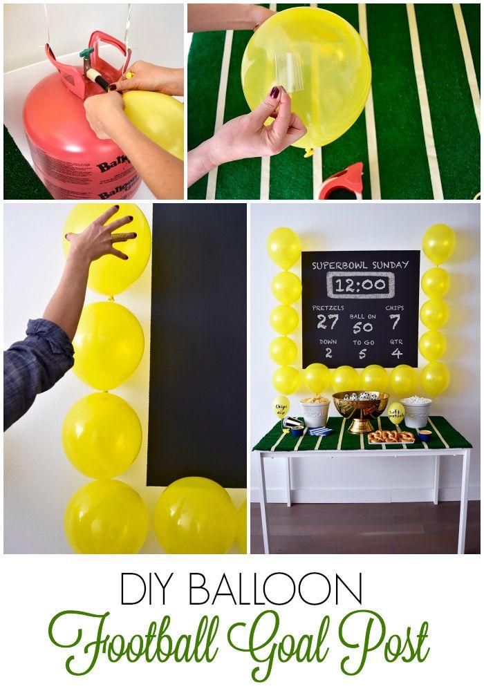 Super Bowl Balloon DIY Idea | Balloon football goal post | Little Miss Party for @balloontime