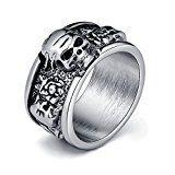 #6: (エバベア)EVBEA メンズ リング ジュエリー ドクロ 回転 シルバー 指輪 ファッション ゴシック スカル アクセサリー ダーク死神 シルバー (24)