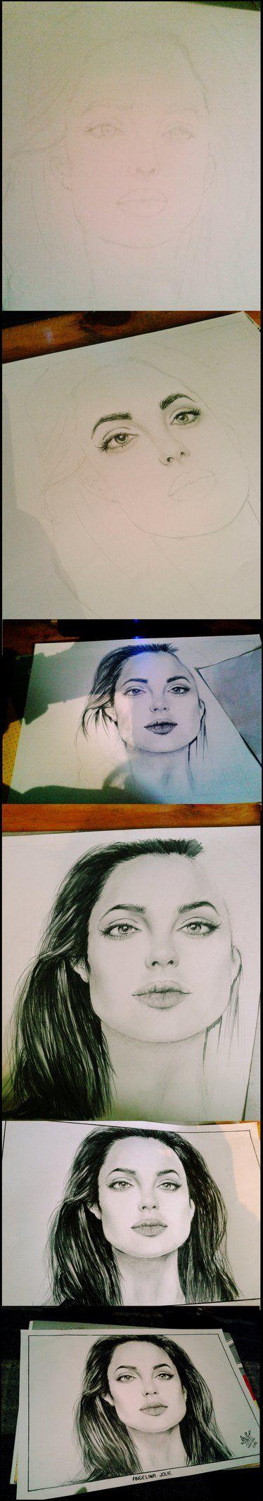 DIBUJO de Angelina Jolie by DesignInsanagirl.deviantart.com on @DeviantArt