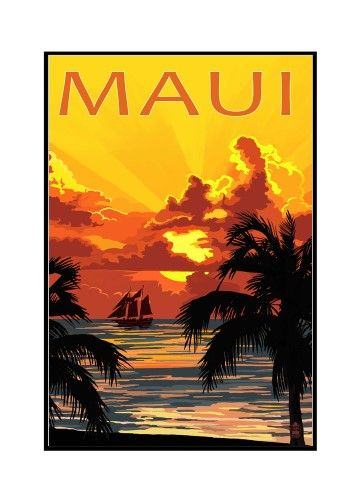 Maui, Hawaii - Sunset & Ship - Lantern Press Artwork (12x18 Framed Gallery Wrapped Stretched Canvas), Multi