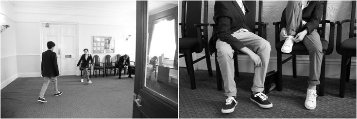 natural moments at London elopement, black and white photography, kids waiting, boys playing at wedding, trainers at wedding