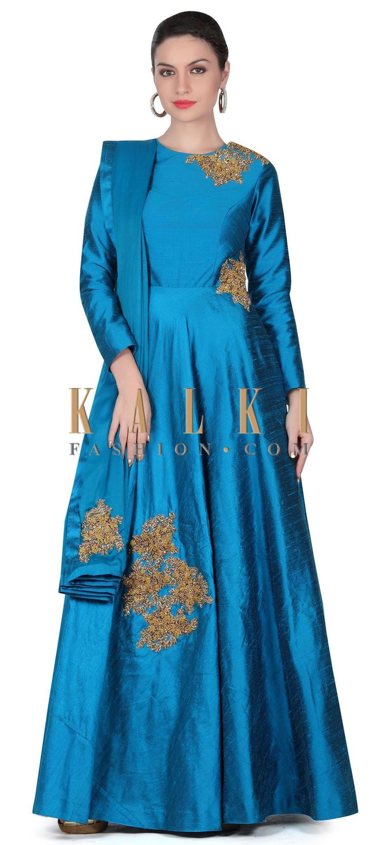 Buy this Royal blue anarkali suit adorn in french knot embroidery only on Kalki