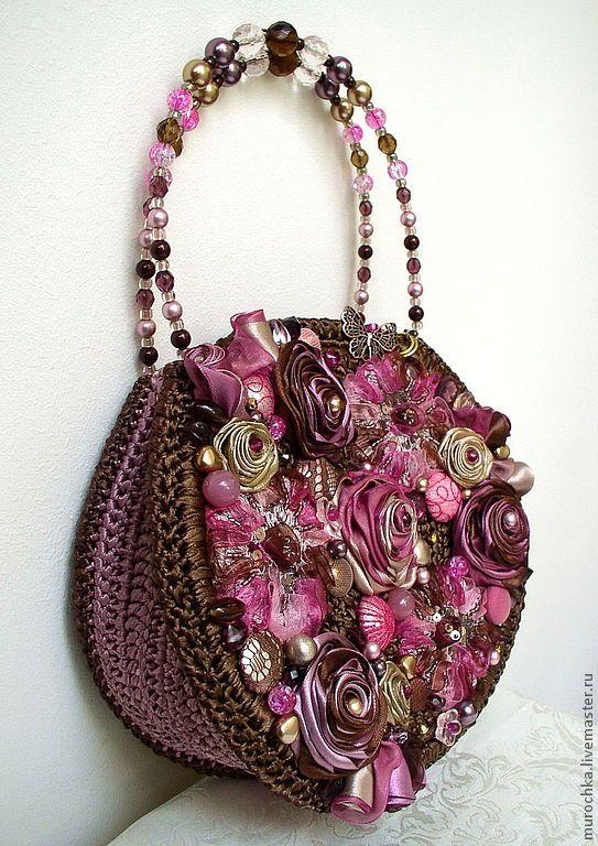 """Купить Сумочка """"Карнавал"""" (вариация). - коричневый, цветочный, малиновый, аметистовый, подарок, стильная сумка"""
