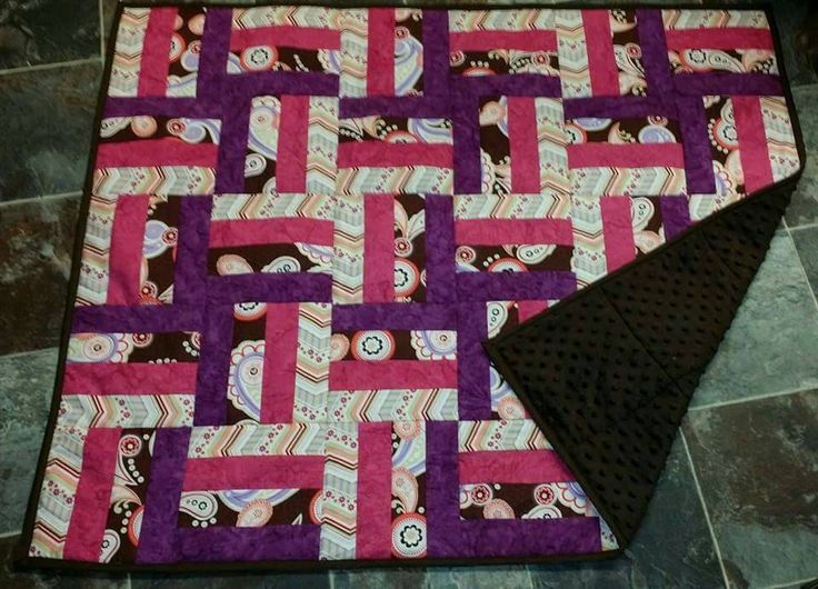Baby Girls Pink and Purple Quilt. Chocolate Brown Chenille backed. by SensationalEmb on Etsy