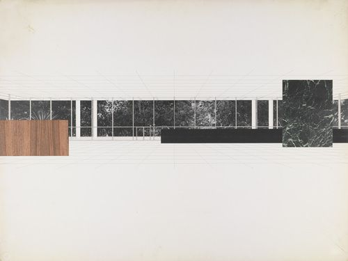 """Ron Bacardi y Compania, S.A., Administration Building, Santiago, Cuba, project., Interior perspective  Ludwig Mies van der Rohe (American, born Germany. 1886–1969)    c. 1957. Colored paper, veneer, ink and photo collage on illustration board, 30 x 40"""" (76.2 x 101.6 cm). Mies van der Rohe Archive, gift of the architect. © 2012 The Museum of Modern Art, New York  MR5701.454"""