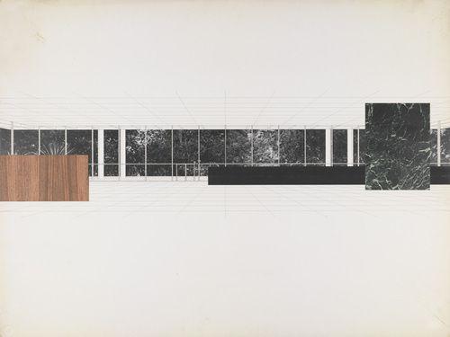 Ron Bacardi y Compania, S.A., Administration Building, Santiago, Cuba, project., Interior perspective—Ludwig Mies van der Rohe