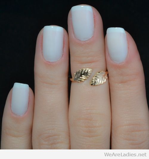 Light Blue Nail Polish And Golden Leaf Ring