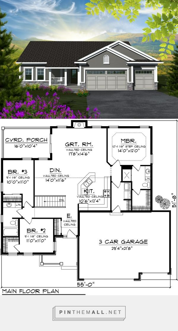 Traditional Style House Plan - 3 Beds 2 Baths 1501 Sq/Ft Plan #70-1131 - created via https://pinthemall.net